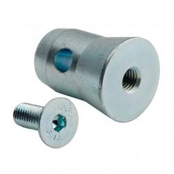 Demi-manchon conique avec vis M10 pour tube de 50 mm